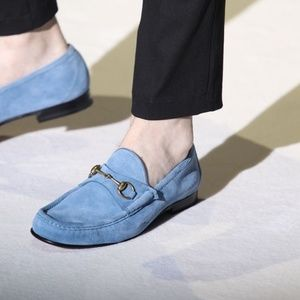 Gucci Roos Blue Suede Loafers